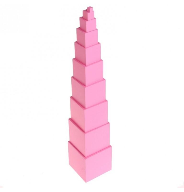 Tour rose Montessori : Cubes à empiler