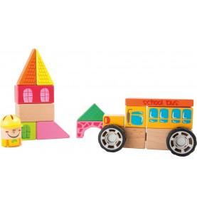 Materiel Montessori : jeu de construction en bois