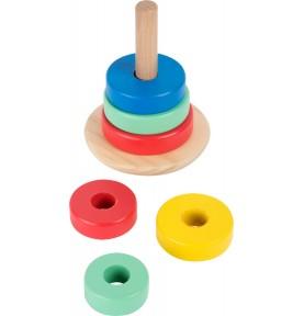Tour d'anneaux à empiler en bois : Jouet Montessori
