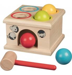 Jouet montessori : Boite à marteler - 4 boules