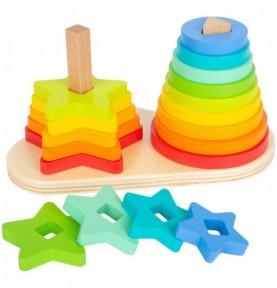 Double jeu d'empilement Arc-en-ciel Montessori