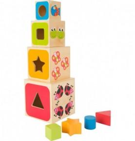 Cubes à empiler en bois - Formes Montessori
