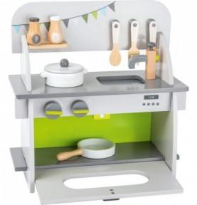 Cuisine compact blanche et grise Montessori