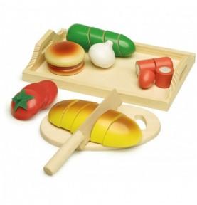 aliments à découper en bois