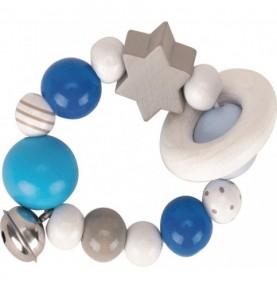 Hochet en bois étoile bleue Montessori