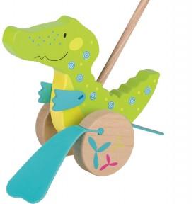Crocodile à pousser en bois
