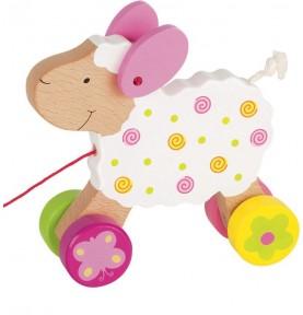 Mouton - Jeu à pousser en bois Montessori