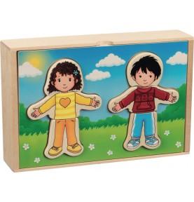 Puzzle à habiller - Garçon et fille en coffret bois Montessori